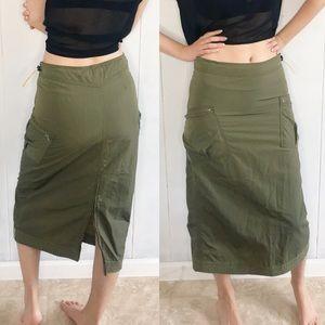 Calvin Klein army green parachute skirt